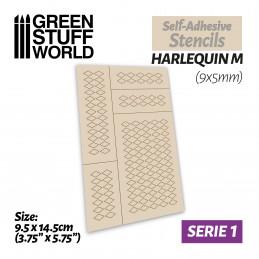 Pochoirs auto-adhésifs - Harlequin M - 9x5mm