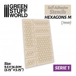Plantillas autoadhesivas - Hexagonos M - 7mm