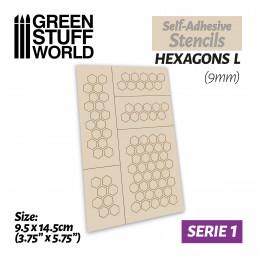 Pochoirs auto-adhésifs - Hexagones L - 9mm